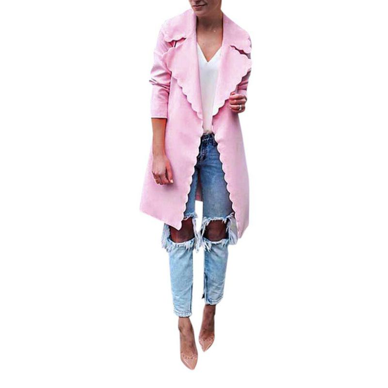 New Women Elegant Winter Coat Lapel Slim Irregular Lace Cardigan Long-sleeved Long   Trench   T6