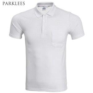 2017 العلامة التجارية قميص بولو الرجال أزياء قصيرة الأكمام بلون جيب بولو أوم عارضة يتأهل رجل بولو أبيض أسود XXXL
