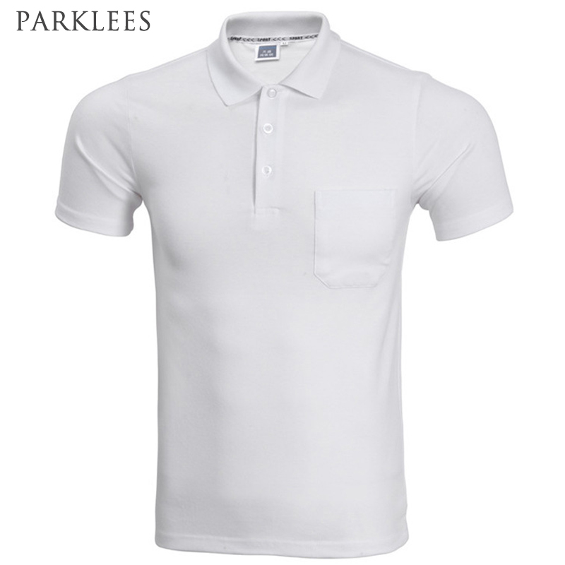 2017 Brand   Polo   Shirt Men Fashion Short Sleeve Solid Color Pocket   Polo   Homme Casual Slim Fit Mens   Polos   White Black XXXL