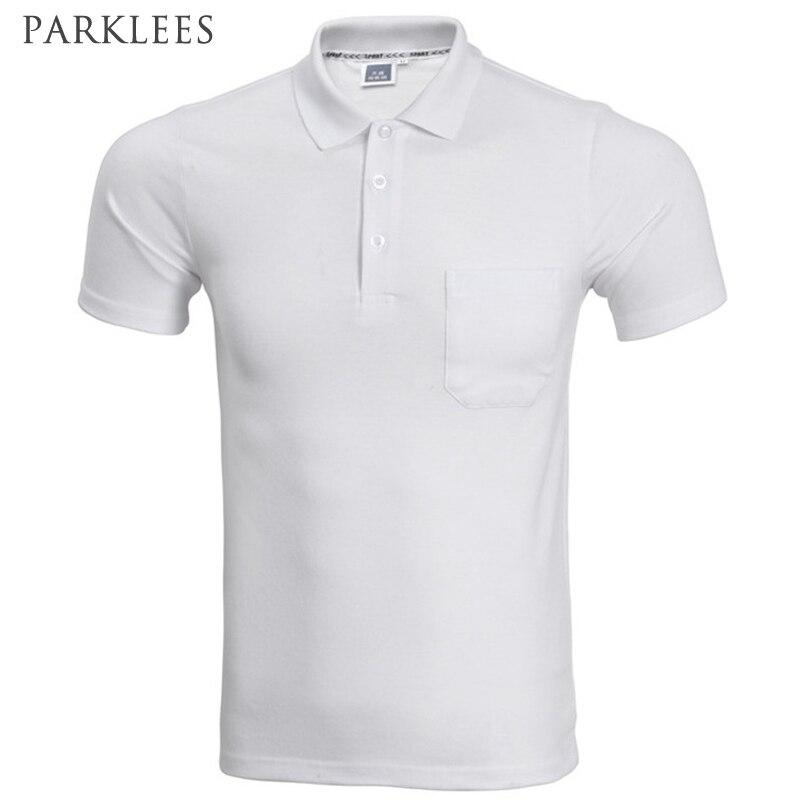 2017 Camisa Polo Da Marca Homens Moda Bolso Cor Sólida de Manga Curta Polo Homme Casual Slim Fit Mens Polos Preto Branco XXXL