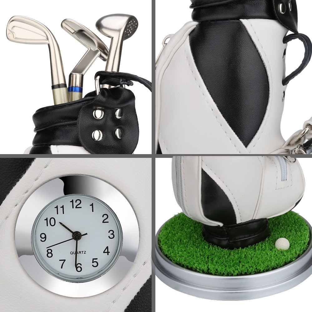 Image 4 - Caiton Mini Golf Bag Pen Holder With Lawn Base Clock And Three Golf Club Pens Decoration Gift-in Golf Training Aids from Sports & Entertainment