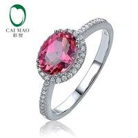 Новые 14 К белого золота 1.29ct Природный розовый турмалин АЛМАЗ Обручение кольцо