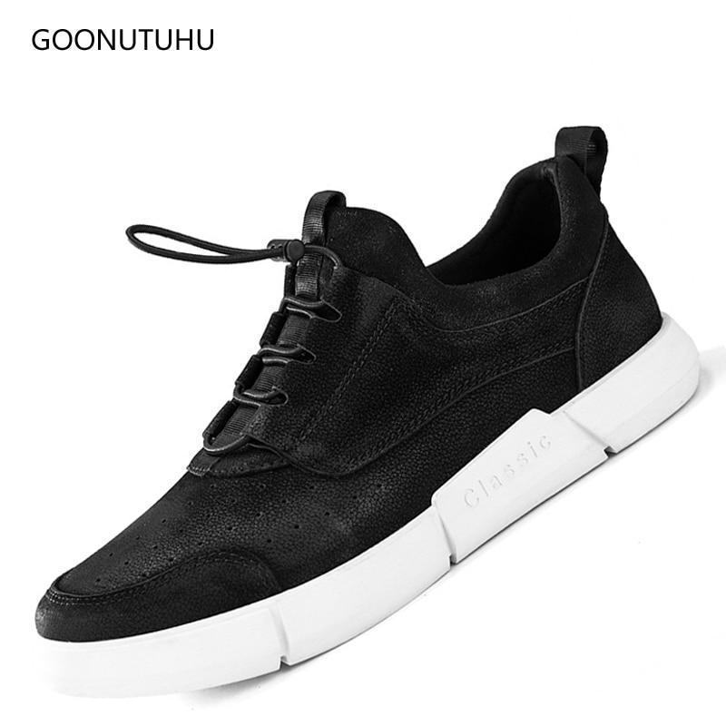 Módní pánské boty kožené originální černé pánské 2018 - Pánské boty
