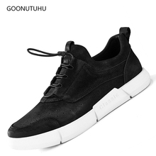 Fashion man's shoes casual leather genuine black men 2018 new spring&autumn solid breathable shoes platform shoe men big size 12