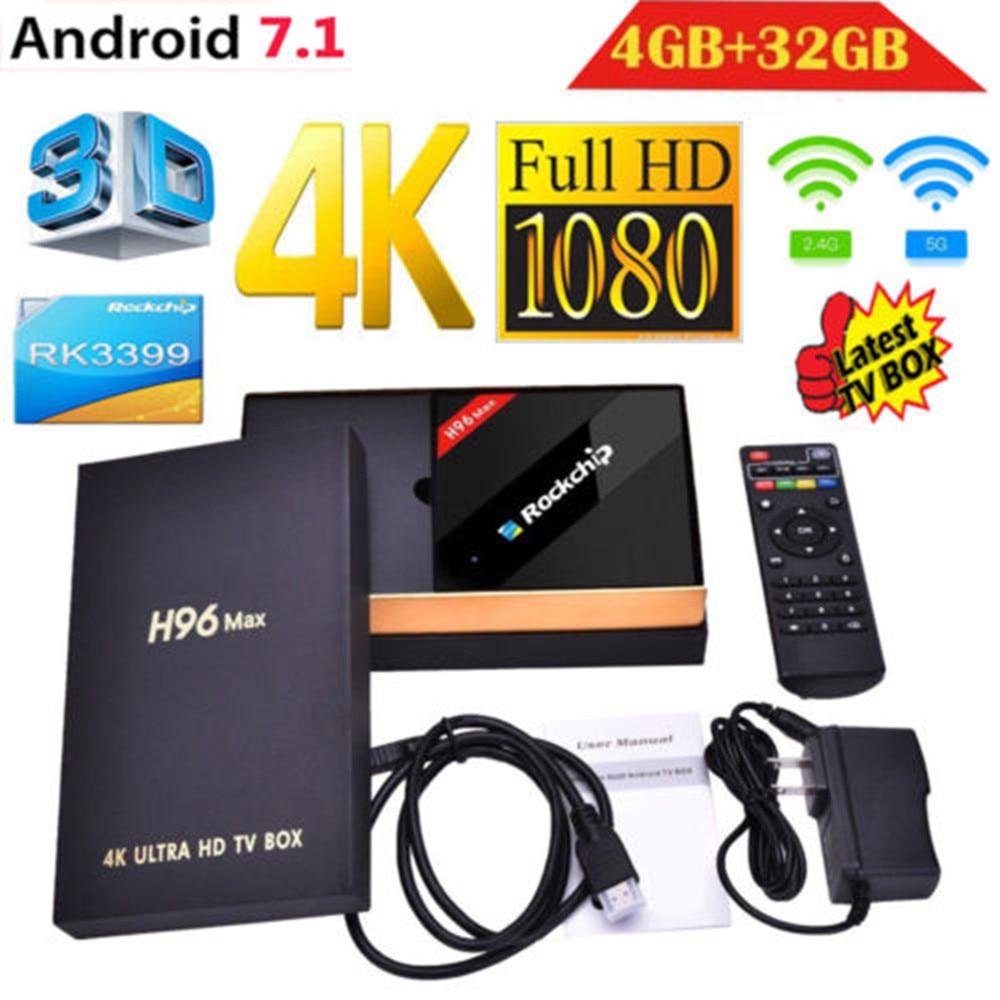 H96 MAX лучших Rockchip RK3399 Android 7,1 ТВ коробка 4 ГБ Оперативная память 32 ГБ Встроенная память 6 Core 2,4/5 ГГц Wi-Fi H.265 Smart BT4.0 телеприставке Media player