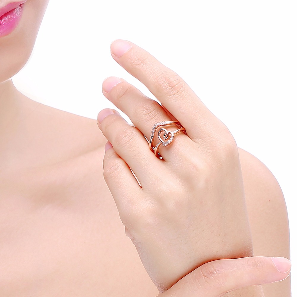 DODO Female Heart Ring Fashion 585 Rose / White Gold Color Jewelry ...