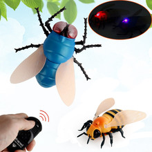 Realistic Remote Control Bee Flies Insect Animal Trick Terrifying Toy LED Light