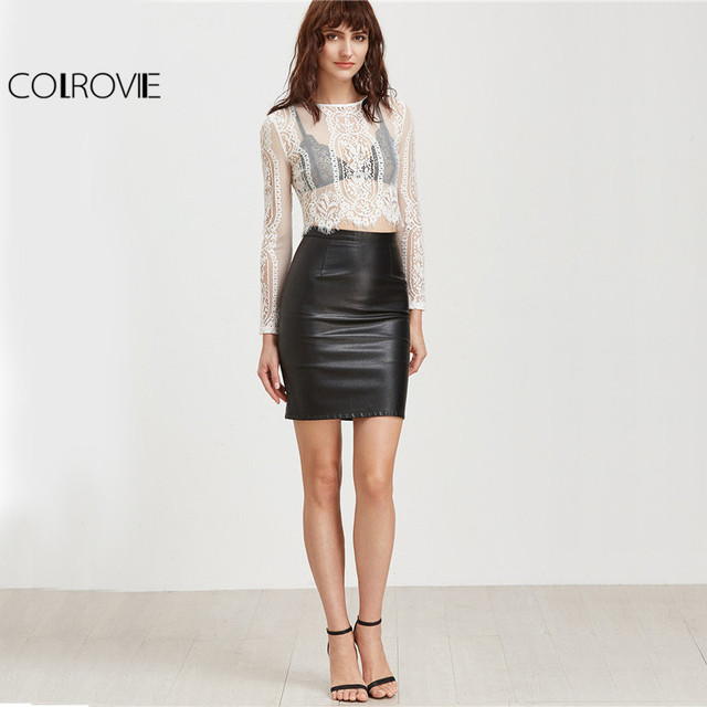 COLROVIE Sexy Lace Blouses Women White See-through Vintage Beach Summer Crop Tops 2017 Fashion Long Sleeve Zipper Elegant Blouse