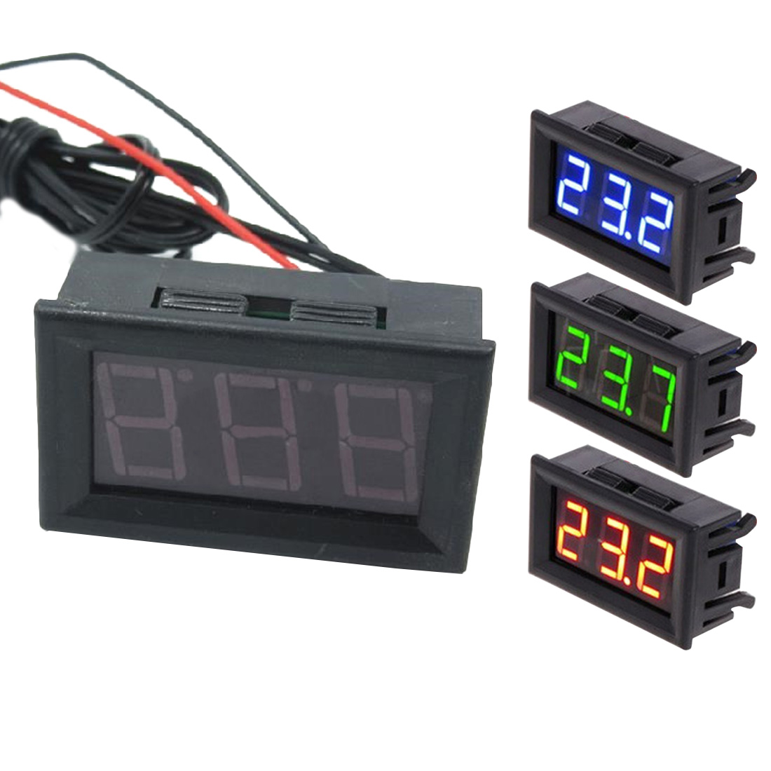 Digital LED -<font><b>50</b></font> ~ <font><b>110C</b></font> Thermometer Automotive Temperature Monitor Panel Meter DC 5-12V Digital Thermometer image