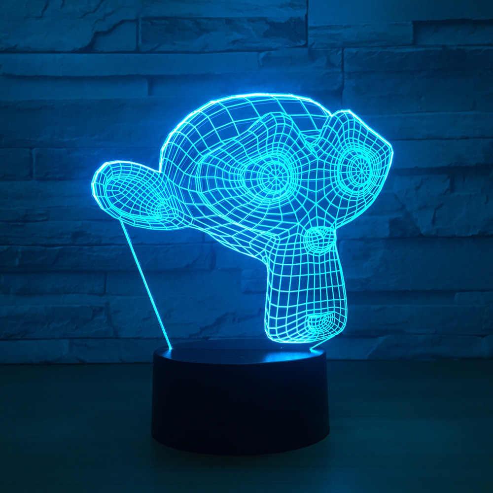 Маска обезьяны светодиодный 3D ночник красочный usb дистанционный сенсорный светодиодный визуальный, для создания атмосферы лампы домашние декоративные светильники
