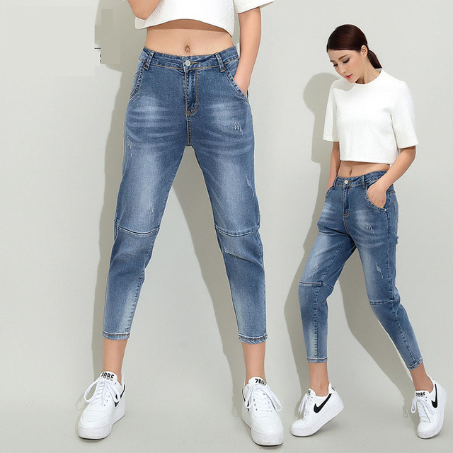 New 2016 summer models in Europe and America women's fashion cotton jeans feet nine points jeans frayed micro Harlan long pants