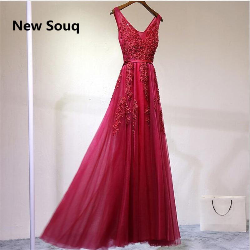 Summer Soft Tulle A-Line Bridesmaid Dresses Appliqued V-neck Backless Beach Garden Wedding Guest Dress Cheap Party Prom Dress