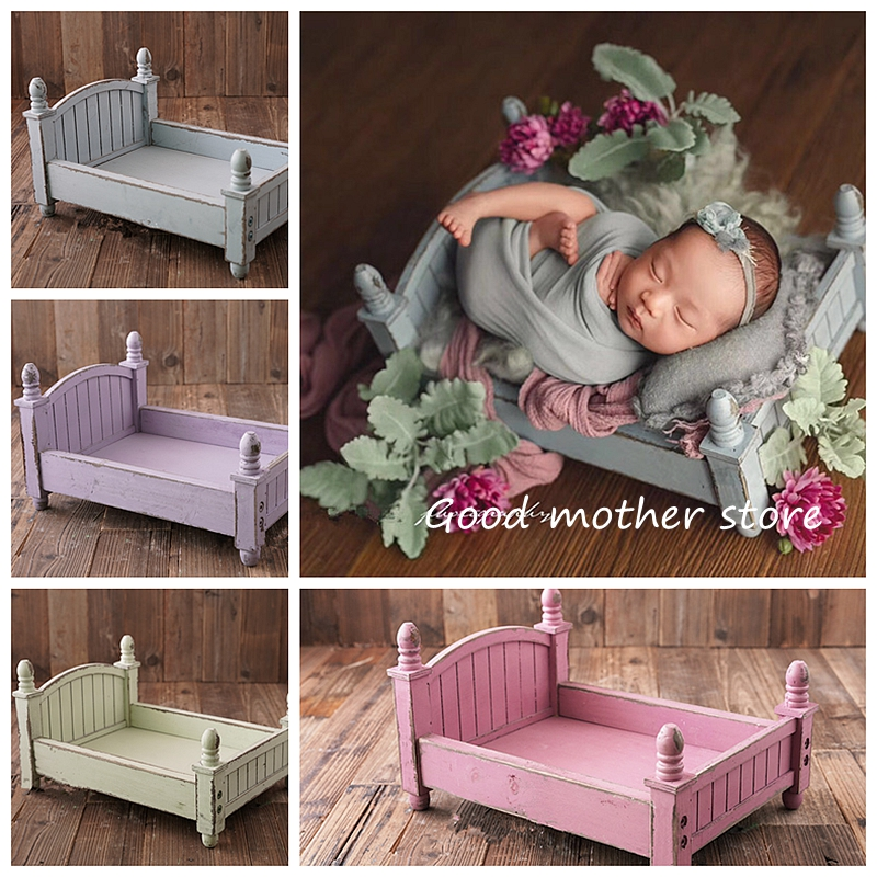 Newborn photography props small wooden bed original design four colors optional baby bed Foldable and removable bedNewborn photography props small wooden bed original design four colors optional baby bed Foldable and removable bed