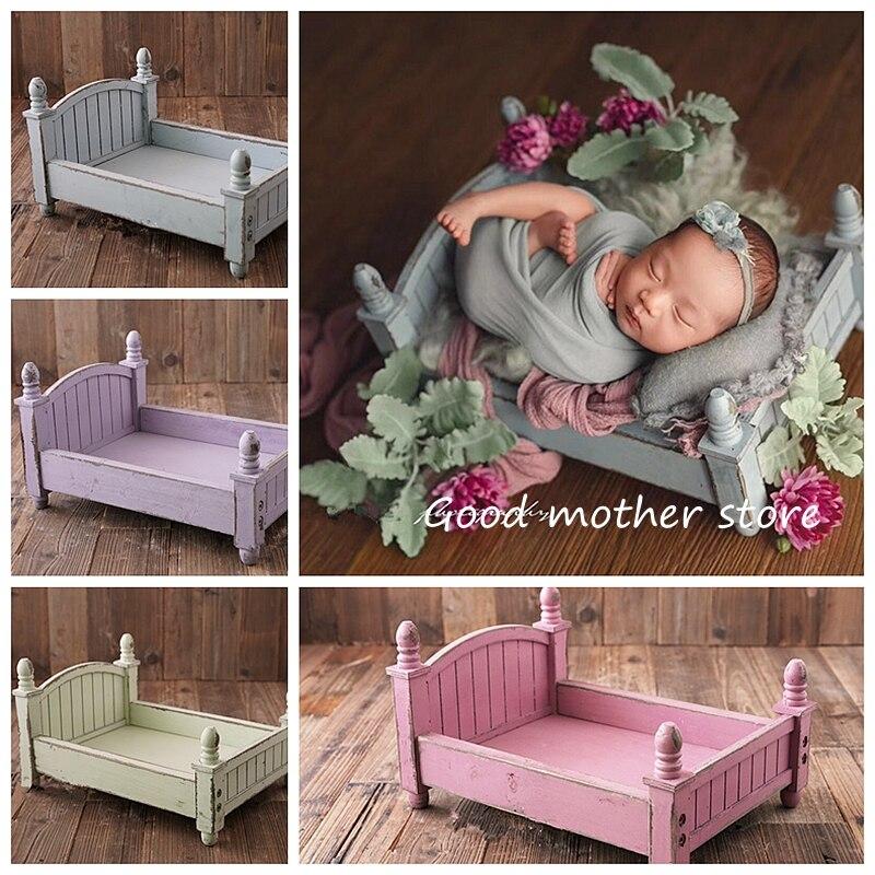 Nouveau-né photographie accessoires petit lit en bois design original quatre couleurs en option lit bébé pliable et amovible lit