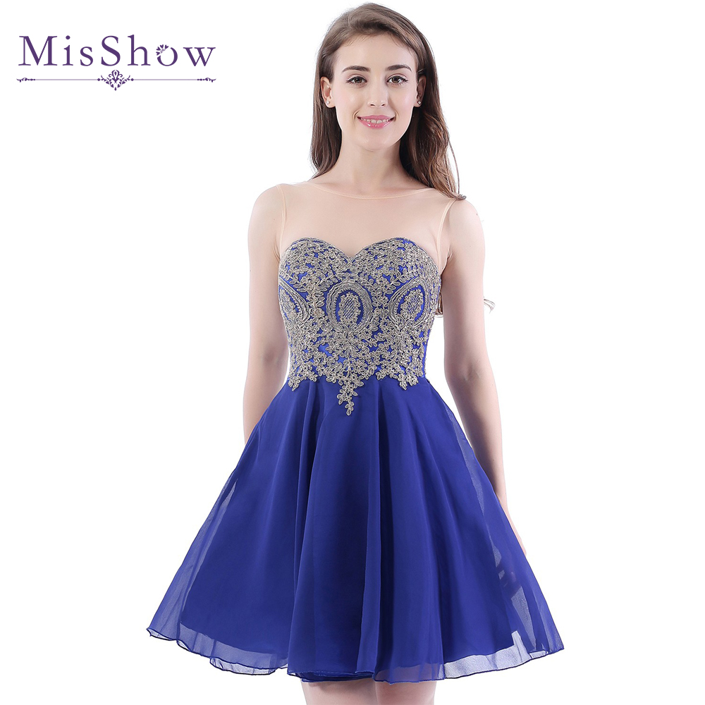 [Final Clear Out] A Line Sheer Scoop Neckline Royal Blue Chiffon Homecoming Dresses 2019 Short Party Prom Dress Homecoming Dress