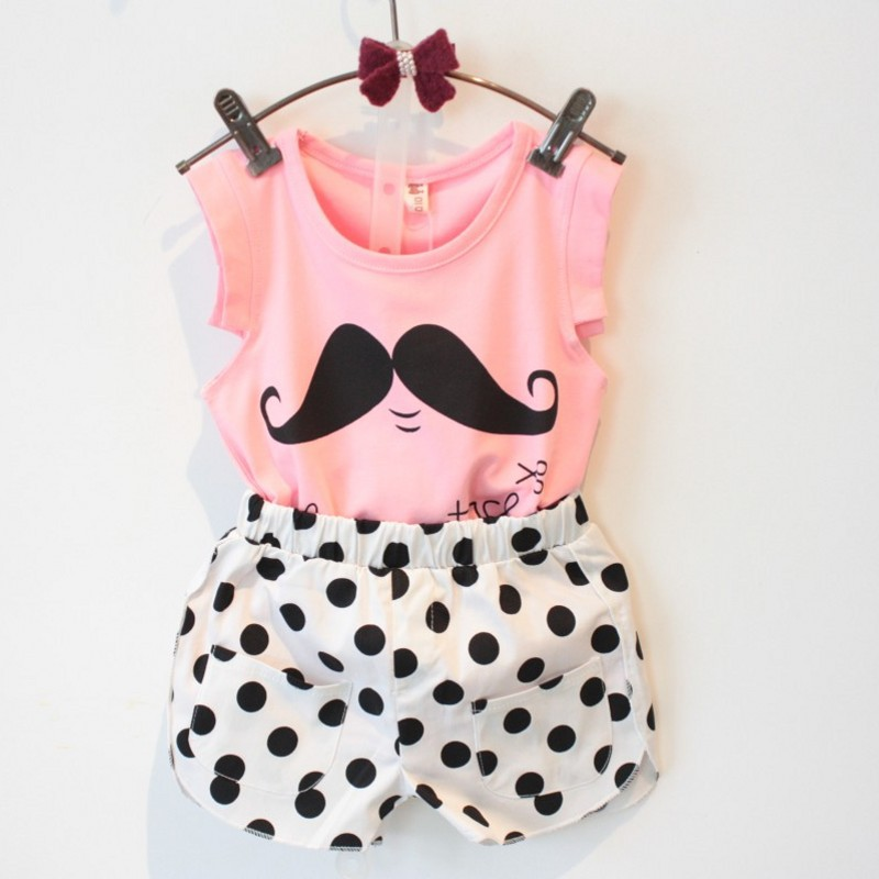 Girl Clothing Sets 2017 Summer Children Clothing Baby Girl's Cartoon Beard Clothes Sets Sleeveless Plaid Shirt +Polka Dot Shorts