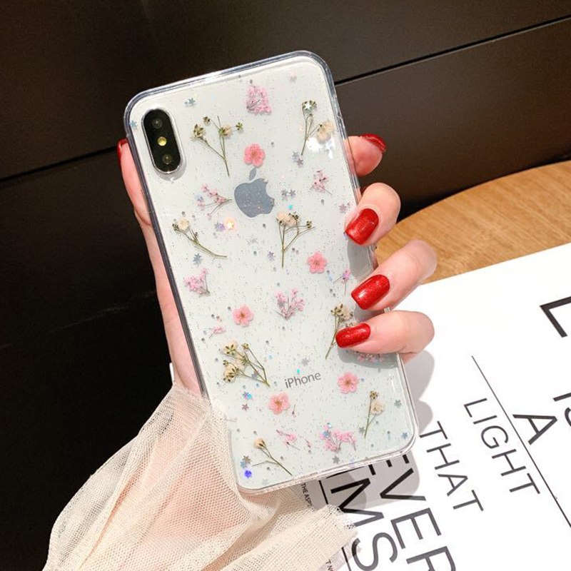 Real Dried Flower Case For iPhone 7 8 Plus XS Max XR XS X 6 6SCase Handmade Clear Soft TPU Fresh Flower Phone Back Cover Fundas (5)