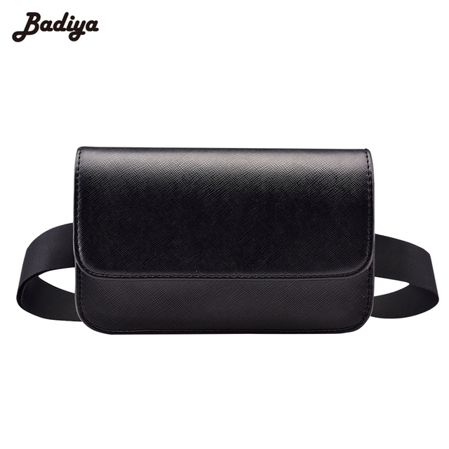 Fashion Solid Fanny Bag Women PU Leather Waist Bag Black Female Adjusted Belt Bag Ladies Casual Waist Pack Pouch Brief Design