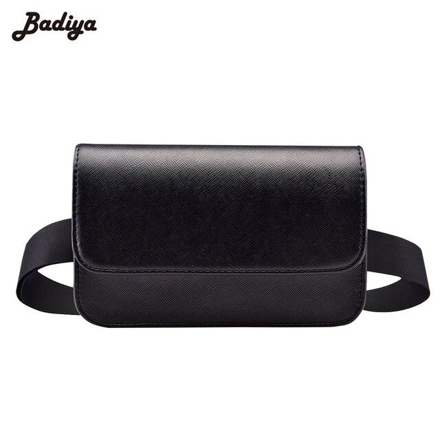 Fashion Solid Fanny Bag Women PU Leather Waist Bag Black Female Adjusted Belt Bag Ladies Casual Waist Pack Pouch Brief Design