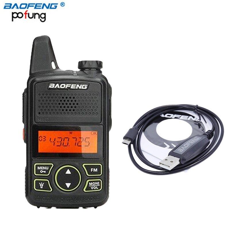 D'origine Baofeng BF-T1 Mini Talkie Walkie UHF 400-470 mhz Portable Two Way Radio Ham Radio Émetteur-Récepteur Micro USB interphone + câble