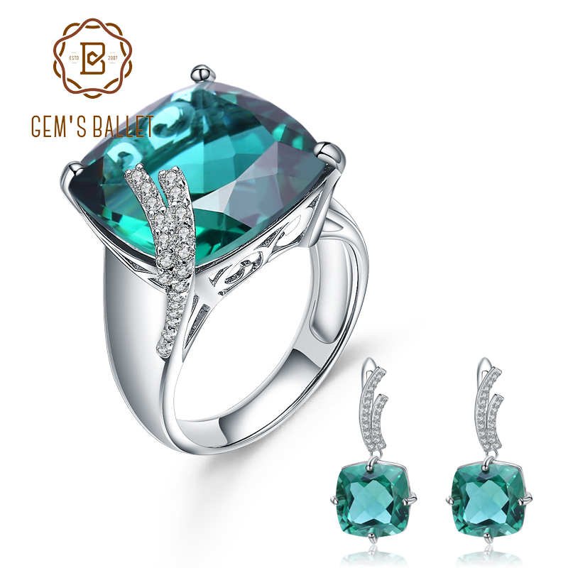 GEM S BALLET Russian Nano Emerald Gemstone Ring Earrings Jewelry Set For Women 925 Sterling Silver
