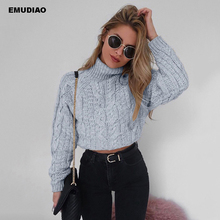 Casual Knitted Short Sweater Women Turtleneck Streetwear High Collar Pullovers Jumpers 2019 Autumn Winter Women's Sweater Unif