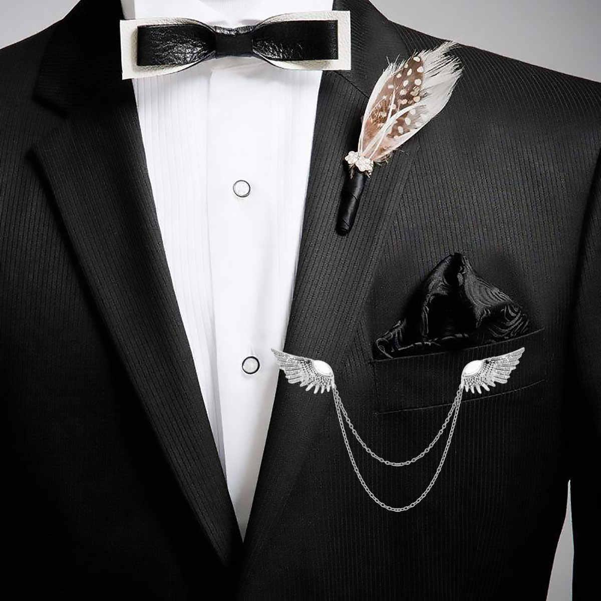 Mens di modo Maschio Ali di Angolo Collare Spille Spilla Maglione Scialle Pinze Cardigan Collare di Clip Del Supporto Decorazione per Un'occasione Formale