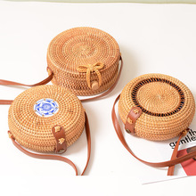 Vintage Handmade Crossbody Leather Bag Round Beach Girls Circle Rattan Small Bohemian Shoulder