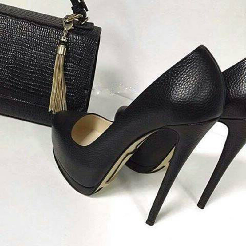 SHOFOO Shoes, Fashion Beautiful Women's Shoes, Black Litchistria PU, About 14.5 Cm  High-heeled Shoes,round Toe Pumps.SIZE:34-45