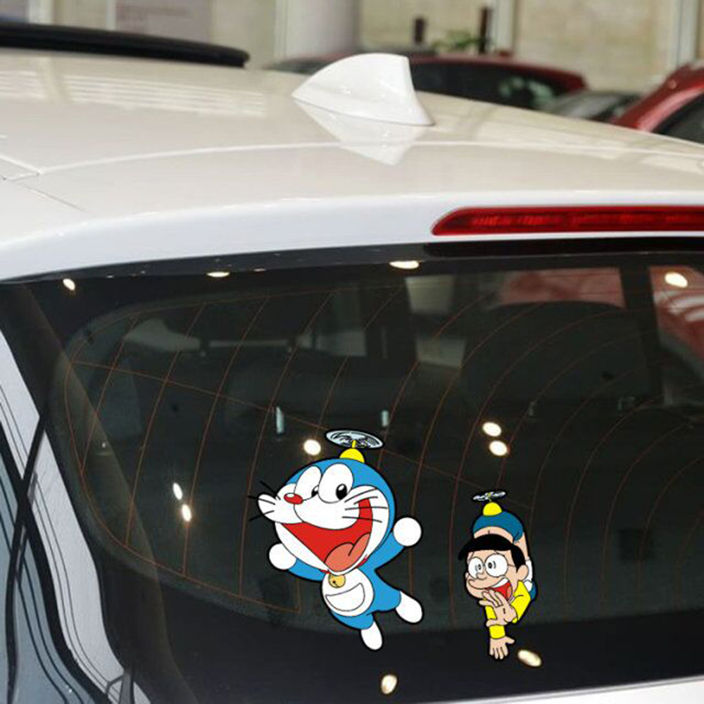 Car-styling Doraemon And Nobita Funny Car Sticker Cartoon Decal For Volkswagen Polo Golf 4 5 6 7 Peugeot 307 mazda 3 Kia Opel