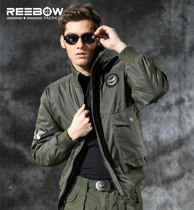 ФОТО REEBOW TACTICAL Winter Cotton Pilot Jacket Men US AIR FORCE Military Outdoor Windbreaker Outwear Thermal Breathable Sports Coat