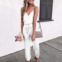 Women Ladies Evening Summer Solid Sexy Fashion Jumpsuit Holiday V Neck Romper Sleeveless One Piece Belt Pants Long