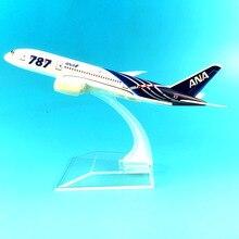Бесплатная доставка, 16 см, модель самолета Боинг 787 ANA из металлического сплава, стандартный самолет, подарок на день рождения