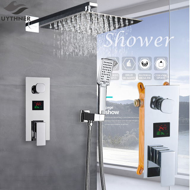 Bathroom Faucet Chrome Polish Digital Display Rain Shower Bath Faucet Wall Mount Bathtub Shower Mixer Tap Bathroom Shower Faucet