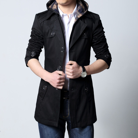 2019 Fashion outwear long coat men trench puls size 5XL male clothing slim fit black and khaki Free shipping Lahore