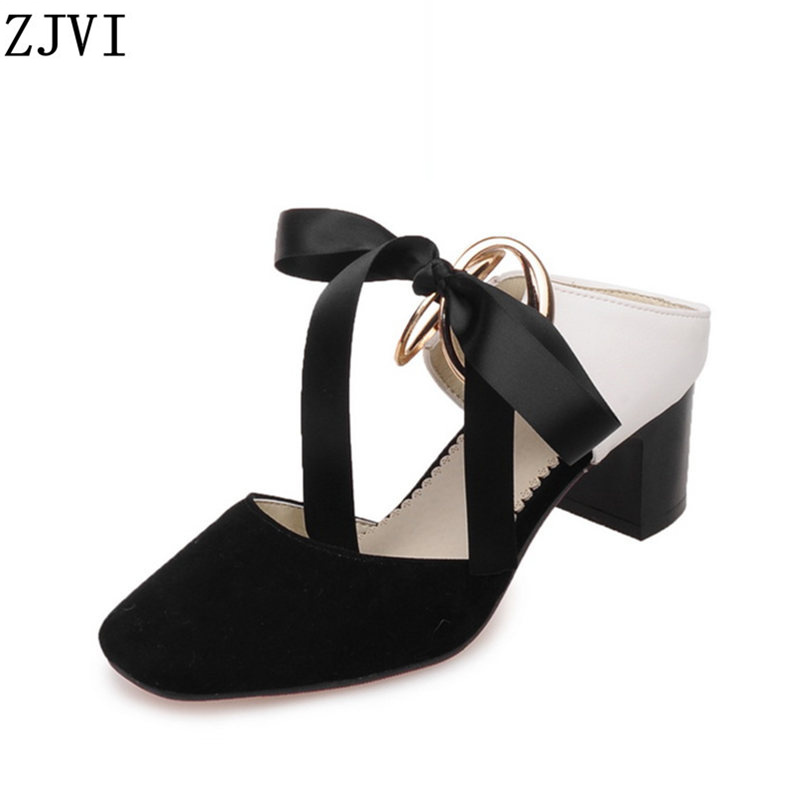ФОТО ZJVI Woman nubuck bowtie square toe sandals ladies summer shoes fashion women square heels womens causal sandals pluse size