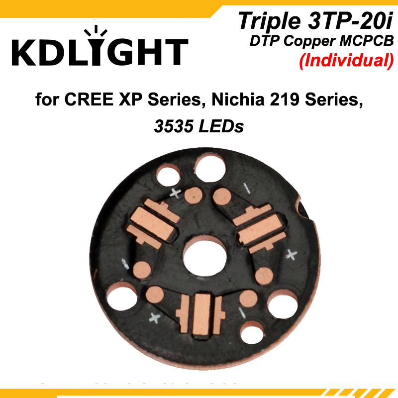 KDLITKER Triple 3TP-20 DTP Copper MCPCB For Cree XP Series / Nichia 219 Series / 3535 LEDs - Parallel Or Individual ( 5 Pcs )