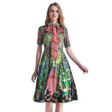 Vintage Print Floral Summer Dress Runway Women High Waist Sash Short 2019 Pleated Green Beach Female Vestidos