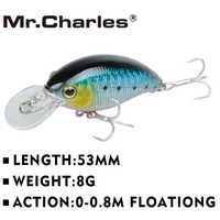 Mr.Charles CMC006 Fishing Lure 53mm 8g 0-0.8m Floating Fishing Tackle Isca Artificial Fishing Bait Crankbait Wobblers 3D E