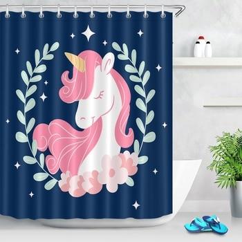 Rideau de douche Imperméable étoiles licorne rose