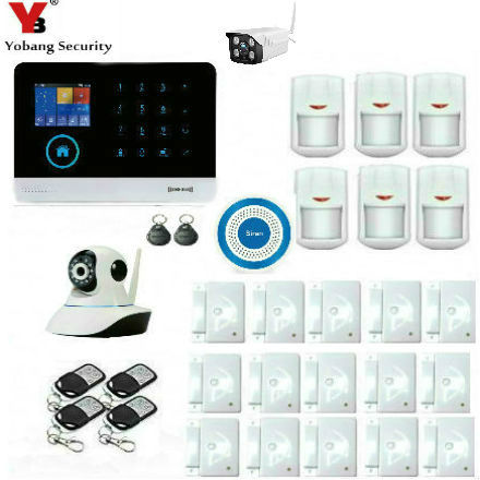 YobangSecurity Touch Keypad WIFI GSM SMS RFID Android IOS APP Wireless Home Burglar alarm system Outdoor Indoor Video IP Camera 16 ports 3g sms modem bulk sms sending 3g modem pool sim5360 new module bulk sms sending device