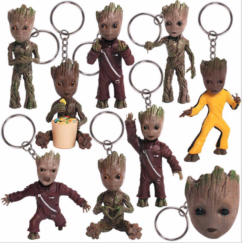 2017 New Movie Figures Toys Guardians of Galaxy Vol 2 Dancing Tree Man Figuras Brinquedos Keychain Key Bag Pendants Dolls 7.5cm guardians team up vol 2