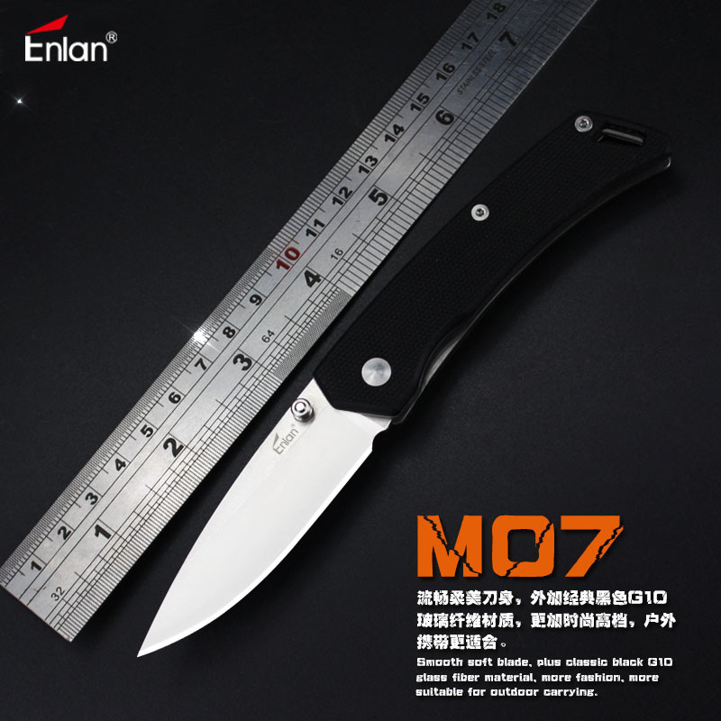 Enlan M07 Folding Knife 8Cr13Mov Blade G10 Handle Camping EDC Pocket Knife enlan l05 1 folding knife with liner lock