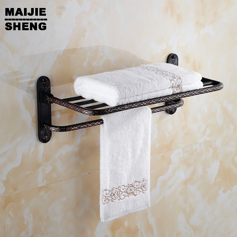 Antique Double towel shelf Whole brass Antique bath towel rack bathroom towel shelf bathroom towel holder aluminum foldable antique brass bath towel rack active bathroom towel holder double towel shelf with hooks bathroom accessories