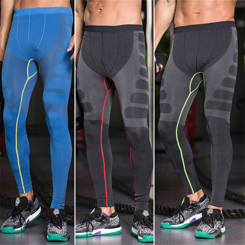 Mens Running Pants Sewing Breathable Pants Fast Dry Comfortable Compression Long Pants Chinlon Fabrics