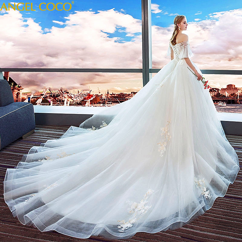 Large Size Pregnant Women Wedding Dress Plus Fertilizer To Increase Luxury Big Tail Pregnancy Maternity Dress Wedding Gown 2018