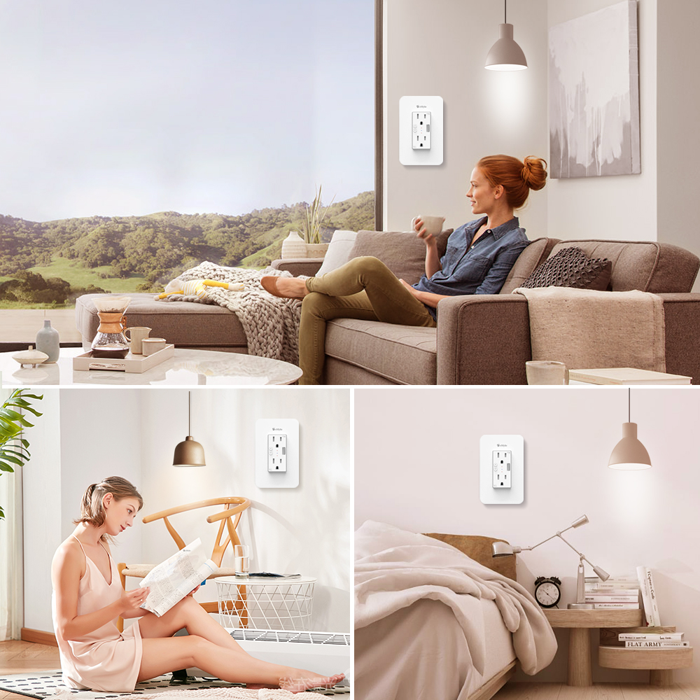 eMylo Wifi Smart Wall Outlet Socket Plate Timer Switch Voice Control Surge Protector Work With Alexa Echo Google Assistant IFTTT in Switches from Lights Lighting