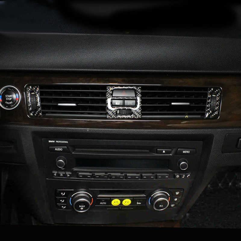 Z włókna węglowego dla BMW serii 3 E90 E92 E93 wnętrze zmiany biegów klimatyzacja Panel CD drzwi pokrywa podłokietnika naklejki wykończeniowe akcesoria