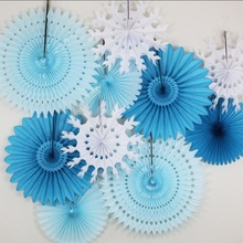 5pcs 8 20cm Tissue Paper Cut-out Fans Pinwheels Hanging Flower Crafts for Showers Wedding Party Birthday Festival
