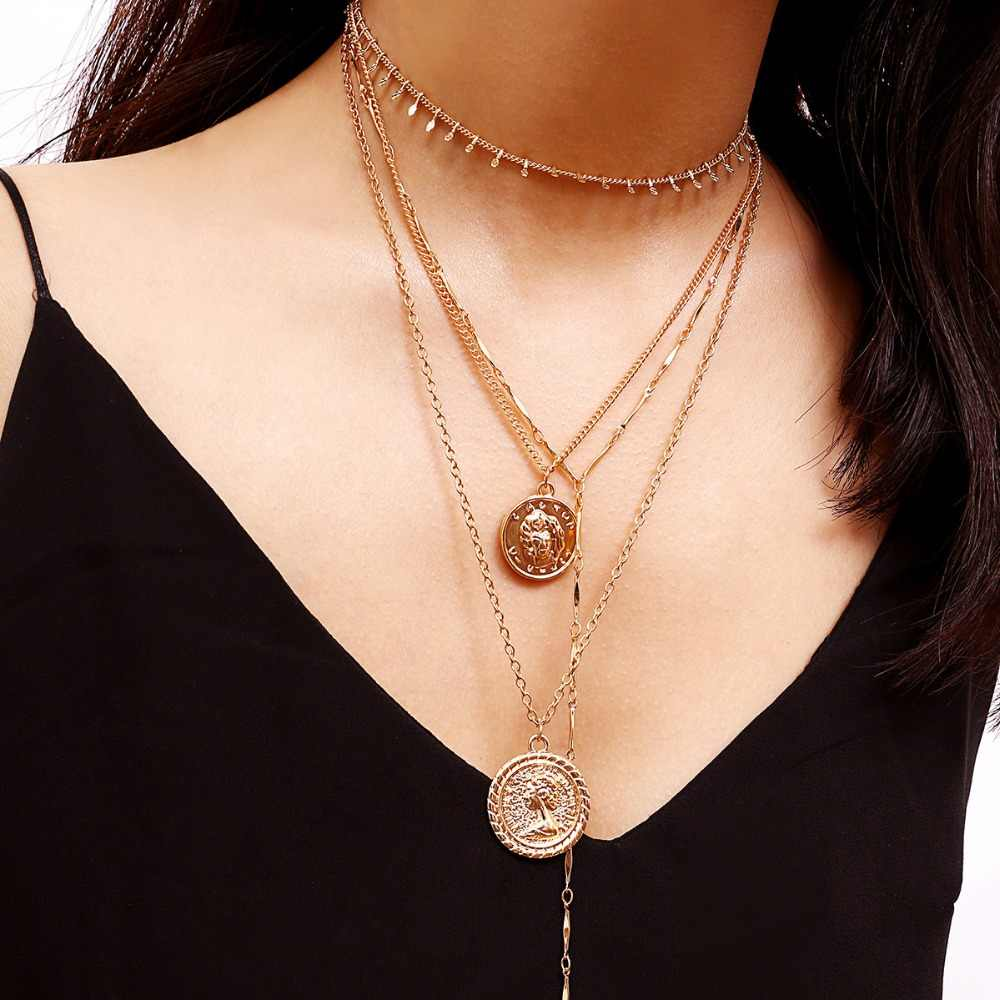 madonna pendant necklace women layered chain pendant necklace collar mujer fashion jewelry